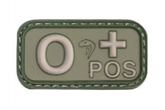 Viper Velcro PVC Blood Group Patch O+ (Olive)
