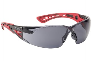 Bollé Protection Glasses Rush PLUS with Red/Black Frame, Smoke Lens and Platinum Coating