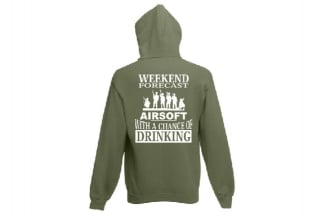Daft Donkey Hoodie 'Weekend Forecast' (Olive) - Size Small