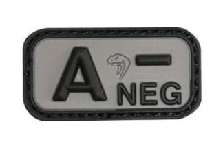 Viper Velcro PVC Blood Group Patch A- (Black)