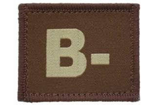 Vanguard Velcro Blood Group Patch B- (Tan)