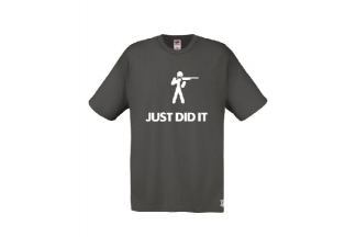 Daft Donkey T-Shirt 'Just Did It' (Grey) - Size Small