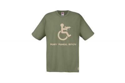 Daft Donkey T-Shirt 'Rollin' Rambo' (Olive) - Size Medium