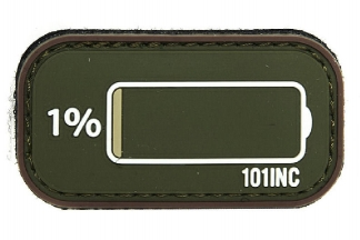 "101 Inc PVC Velcro Patch ""Low Power"" (Olive)"