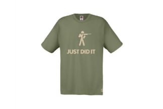 Daft Donkey T-Shirt 'Just Did It' (Olive) - Size Medium