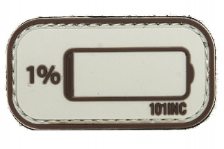 "101 Inc PVC Velcro Patch ""Low Power"" (Brown)"