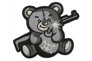 "101 Inc PVC Velcro Patch ""Terror Teddy"" (Grey)"