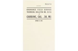 U.S. Army Cal. .30 Carbine M1 Technical Bulletin