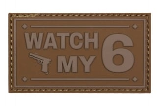 "101 Inc PVC Velcro Patch ""Watch My 6"" (Brown)"