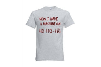 Daft Donkey Christmas T-Shirt 'Ho Ho Ho' (Light Grey) - Size Large