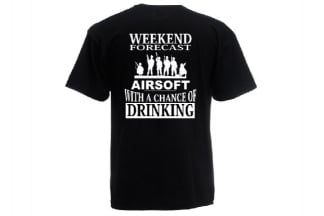 Daft Donkey T-Shirt 'Weekend Forecast' (Black) - Size Small