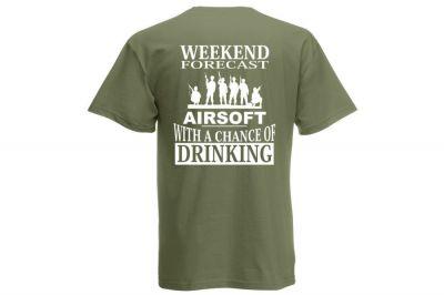 Daft Donkey T-Shirt 'Weekend Forecast' (Olive) - Size Extra Extra Large