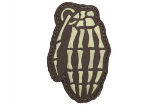 "101 Inc PVC Velcro Patch ""Skeleton Hand Grenade"" (Brown)"