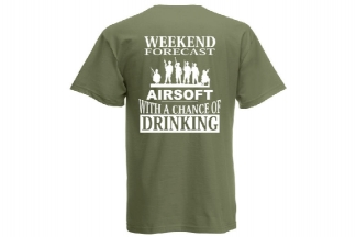 Daft Donkey T-Shirt 'Weekend Forecast' (Olive) - Size Large