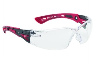 Bollé Protection Glasses Rush PLUS with Red/Black Frame, Clear Lens and Platinum Coating