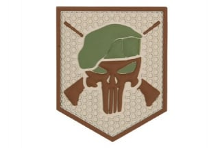 "101 Inc PVC Velcro Patch ""Commando Punisher"" (Brown)"