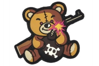 "101 Inc PVC Velcro Patch ""Terror Teddy"" (Brown)"