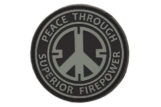 "101 Inc PVC Velcro Patch ""Peace Through Superior Firepower"""