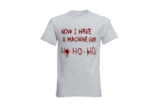 Daft Donkey Christmas T-Shirt 'Bloody Ho Ho Ho' (Light Grey) - Size Medium