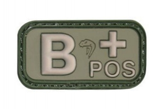 Viper Velcro PVC Blood Group Patch B+ (Olive)