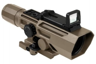 NCS 3-9x42 Scope with Blue/Red Illuminating P4 Sniper Reticle & Flip-Up Reflex Red Dot Sight (Tan)