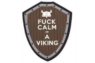 "101 Inc PVC Velcro Patch ""F**k Calm I'm a Viking"" (Brown)"