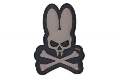 "101 Inc PVC Velcro Patch ""Skull Bunny"" (Grey)"