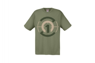 Daft Donkey T-Shirt 'Subdued Zero One Logo' (Olive) - Size Large