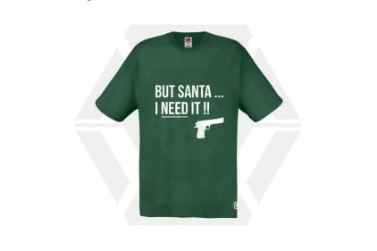 Daft Donkey Christmas T-Shirt 'Santa I NEED It Pistol' (Green) - Size Large