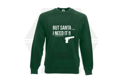 Daft Donkey Christmas Jumper 'Santa I NEED It Pistol' (Green) - Size Small