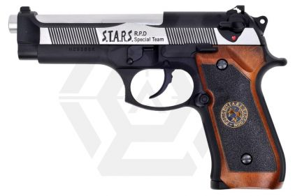 WE GBB M92 BioHazard (Silver Slide with Black Frame) © Copyright Zero One Airsoft