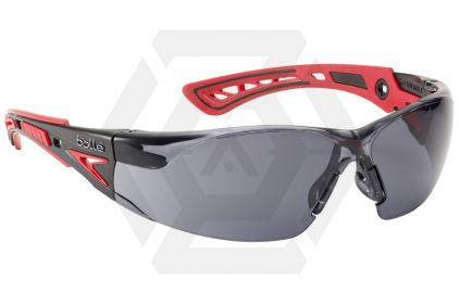 Bollé Protection Glasses Rush PLUS with Red/Black Frame, Smoke Lens and Platinum Coating © Copyright Zero One Airsoft