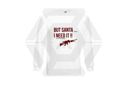Daft Donkey Christmas Jumper 'Santa I NEED It Sniper' (White) - Size Extra Large