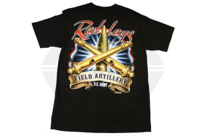 7.62 Design T-Shirt 'Red Legs Field Artillery' (Black) - Size Medium