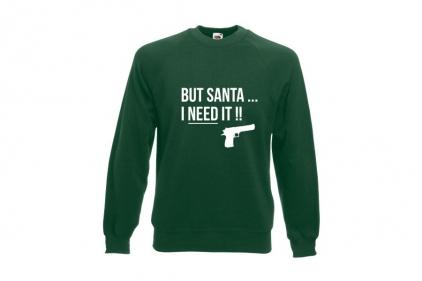 Daft Donkey Christmas Jumper 'Santa I NEED It Pistol' (Green) - Size Extra Extra Large