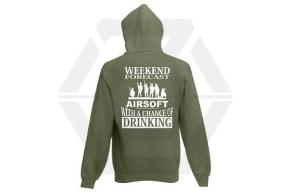 Daft Donkey Hoodie 'Weekend Forecast' (Olive) - Size Small - £26.95