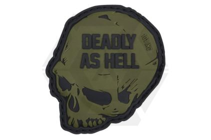 """101 Inc PVC Velcro Patch """"Deadly as Hell"""" (Olive)"""