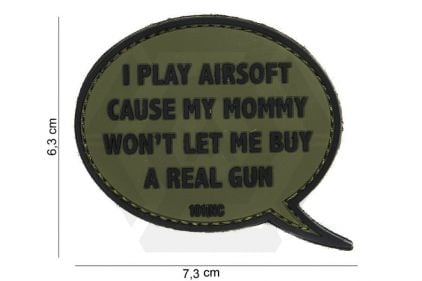 """101 Inc PVC Velcro Patch """"I Play Airsoft"""" (Olive)"""