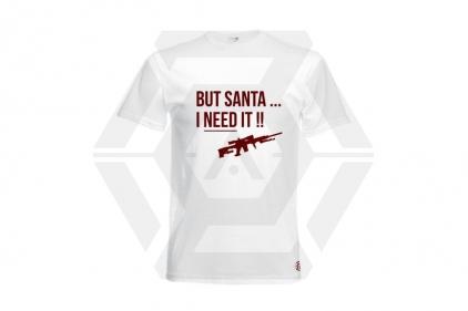 Daft Donkey Christmas T-Shirt 'Santa I NEED It Sniper' (White) - Size Extra Large