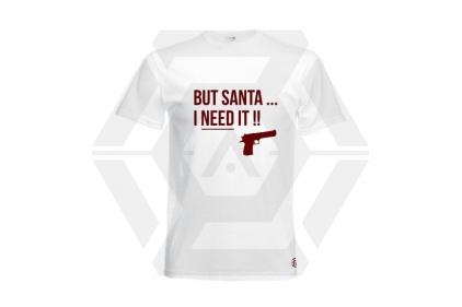 Daft Donkey Christmas T-Shirt 'Santa I NEED It Pistol' (White) - Size Small