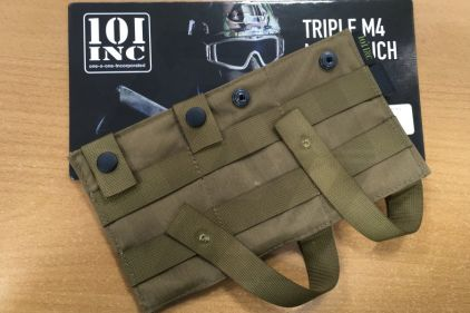 *Clearance* 101 Inc MOLLE Elastic Triple M4 Mag Pouch (Coyote Tan)