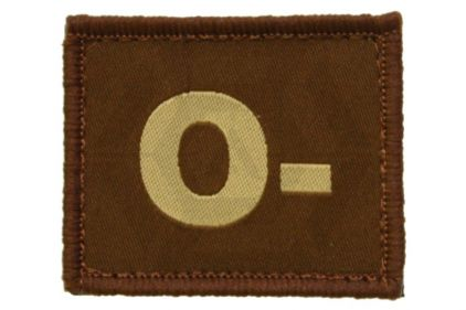 Vanguard Velcro Blood Group Patch O- (Tan)