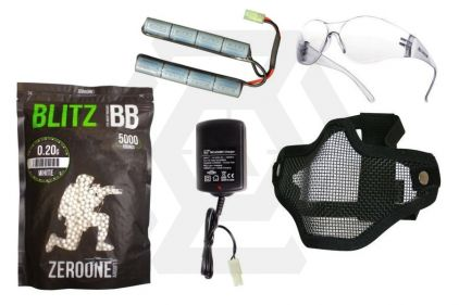 Zero One 9.6v 1600mAh NiMh Nunchuck Battery Starter Pack Tier 1 (Bundle) © Copyright Zero One Airsoft
