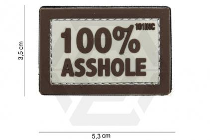 """101 Inc PVC Velcro Patch """"100% Asshole"""" (Brown)"""