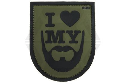 "101 Inc PVC Velcro Patch ""I Love My Beard"" (Olive) © Copyright Zero One Airsoft"