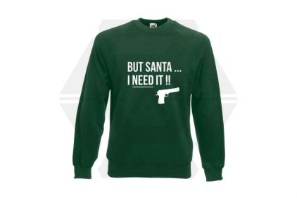 Daft Donkey Christmas Jumper 'Santa I NEED It Pistol' (Green) - Size Medium