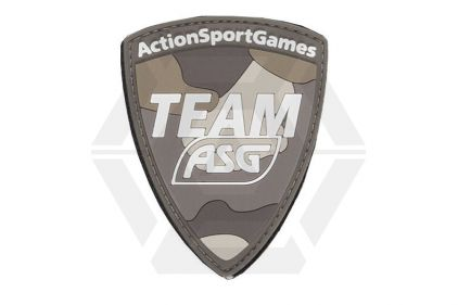 "ASG Velcro PVC Patch ""Team ASG"" (Tan) © Copyright Zero One Airsoft"
