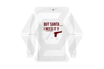 Daft Donkey Christmas Jumper 'Santa I NEED It Pistol' (White) - Size Small