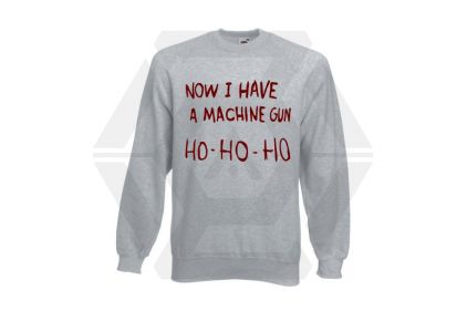 Daft Donkey Christmas Jumper 'Ho Ho Ho' (Light Grey) - Size Extra Large