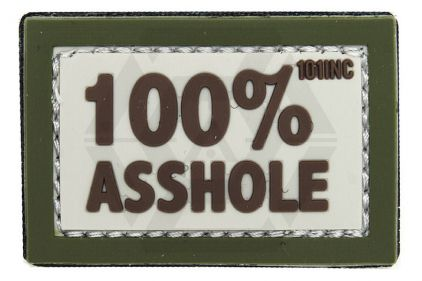"101 Inc PVC Velcro Patch ""100% Asshole"" (Olive)"